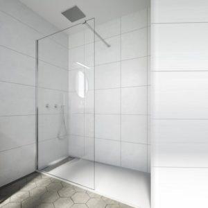 mampara fija de ducha de cristal para plato de ducha