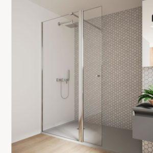Mampara de ducha fija con 1 puerta abatible