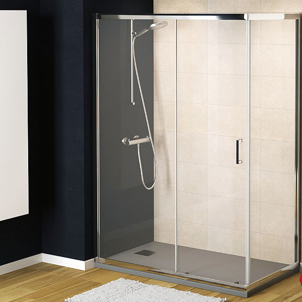 mampara de ducha corredera de 1 puerta de cristal con lateral fijo