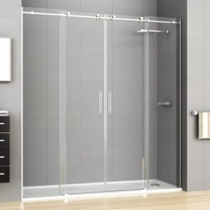 mampara de ducha de acero inoxidable con 2 puertas correderas