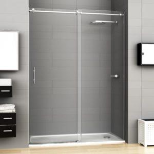 Mampara de ducha corredera de acero inoxidable y cristal de seguridad