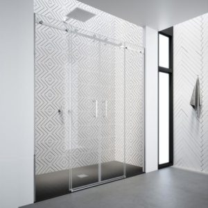 Mampara de ducha frontal de alta calidad de acero inoxidable 304 y cristal de seguridad