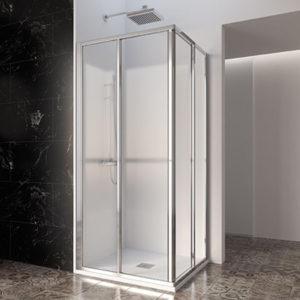 Mamparas de ducha correderas para platos de ducha en esquina