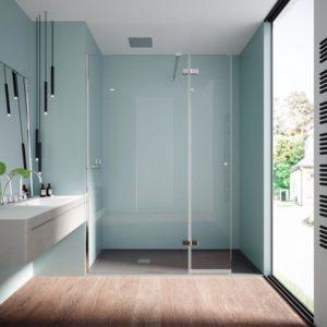 Mampara de ducha fija con 1 puerta abatible con bisagras