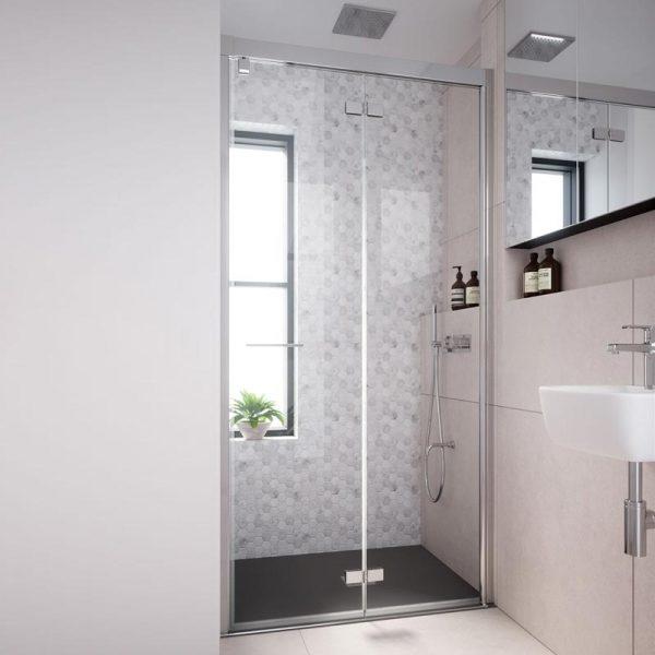 mampara de ducha plegable 2 puertas con bisagras y perfil a pared