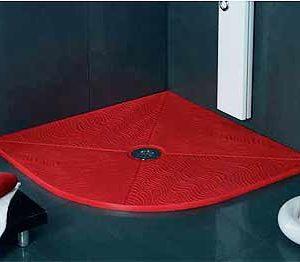 Plato de ducha semicircular de rincon de resinas minerales con radio roca