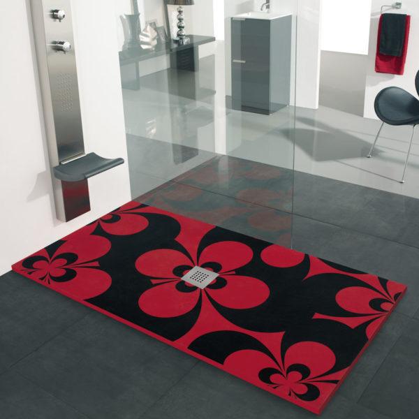 Plato de ducha con Color de fondo Negro y Flores Color Rojo