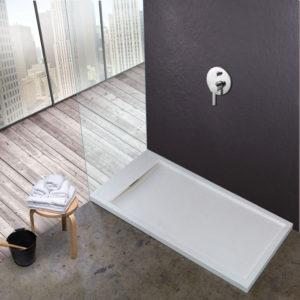 Plato de ducha resinas minerales con tapa para ocultar desague