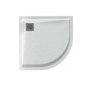 Plato de ducha angular de resina Malenke Q6 Piedra