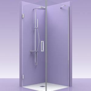 Puertas de ducha de cristal con bisagras de acero + lateral fijo