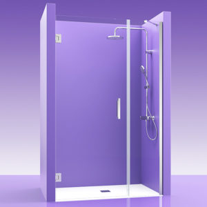 Puertas de ducha de cristal con bisagras de acero + fijo en linea