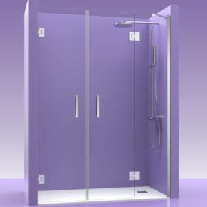 Puertas de ducha de cristal con fijo y bisagras de acero