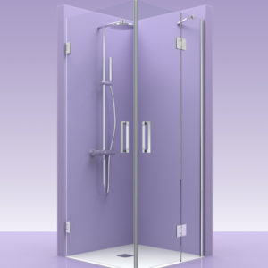 Puertas de ducha en esquina de cristal con fijo y bisagras de acero