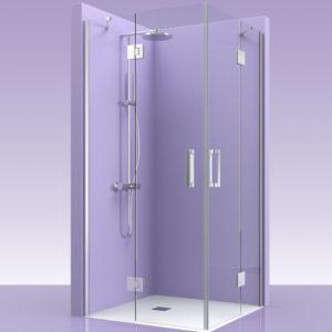 Puertas de ducha en esquina de cristal con fijos y bisagras de acero