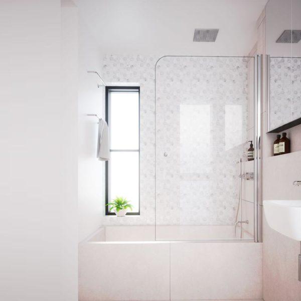 mamparas de ducha para bañera de 1 puerta de cristal