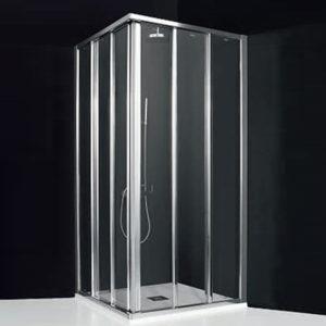 Mamparas de ducha 4 correderas para platos de ducha en esquina