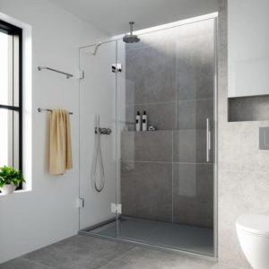 Puertas de ducha con fijo de cristal con bisagras cromadas