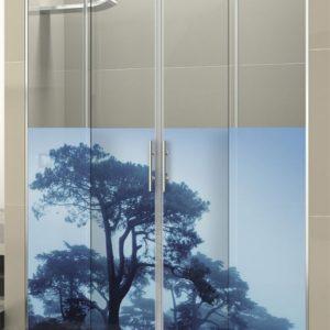 Mampara de ducha corredera de aluminio y acero decorada con serigrafia digital