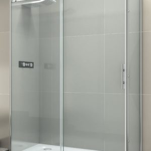 Mampara de ducha corredera de aluminio y acero