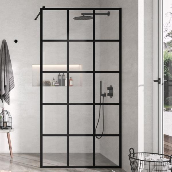 Mampara de ducha fija negra Kassandra Fresh Negro Cuadrados FR103
