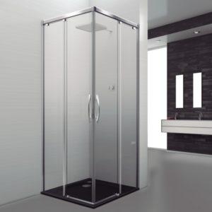 mampara de ducha en esquina en cristal transparente con antical