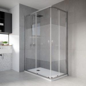 mampara de ducha de esquina para entrar por el vertice