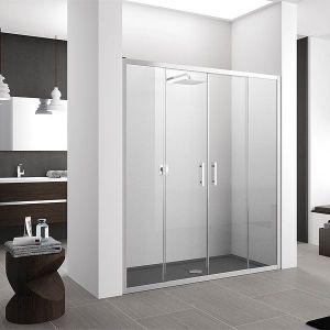 Mamparas de ducha de 2 puertas correderas y 2 fijos