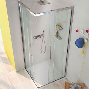 Mamparas de ducha en esquina con puertas correderas